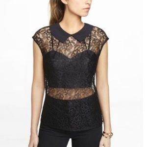 EXPRESS Black Lace Semi-Sheer Top
